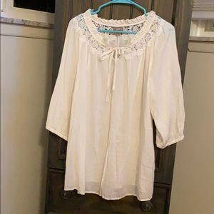 J. Jill white blouse with lace size 1x